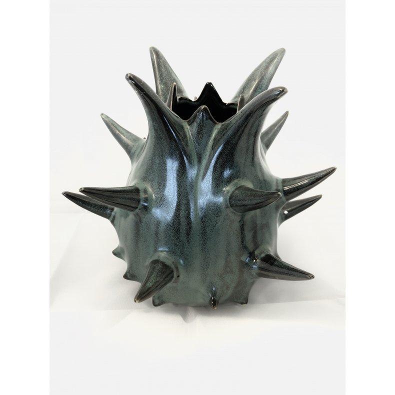 Vase i petrol farvet keramik